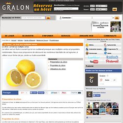 Le citron : un fruit aux multiples vertus
