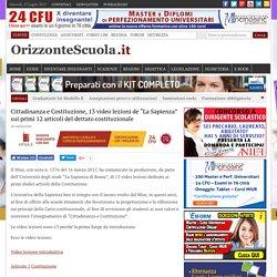 """Cittadinanza e Costituzione, 13 video lezioni de """"La Sapienza"""" sui primi 12 articoli del dettato costituzionale – Orizzonte Scuola"""