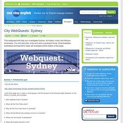 City WebQuests: Sydney