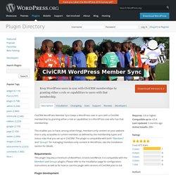 CiviCRM WordPress Member Sync — WordPress Plugins