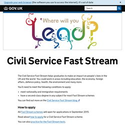 Civil Service Fast Stream - GOV.UK