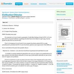 Civilisation Chinoise - Dissertations Gratuits - RMX95