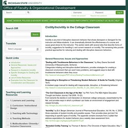 Civility/Incivility in the College Classroom