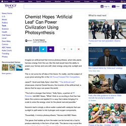 Chemist Hopes 'Artificial Leaf' Can Power Civilization Using Photosynthesis