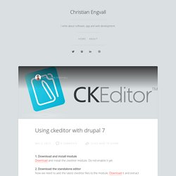 Using ckeditor with drupal 7
