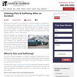 Claiming Pain & Suffering After an Accident - Samer Habbas & Associates