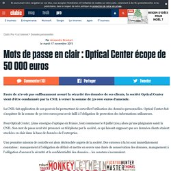 Mots de passe en clair : Optical Center écope de 50 000 euros
