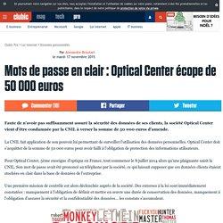 Mots de passe en clair : Optical Center écope de 50000 euros