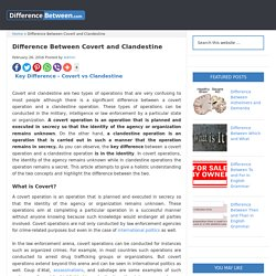 Difference Between Covert and Clandestine - DifferenceBetween.com