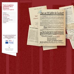 Tracts et papillons clandestins de la Résistance, Papiers de l'urgence - Diaporama