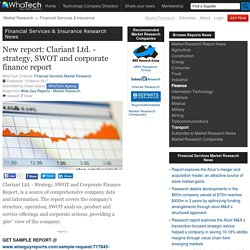 New report: Clariant Ltd. - strategy, SWOT and corporate finance report