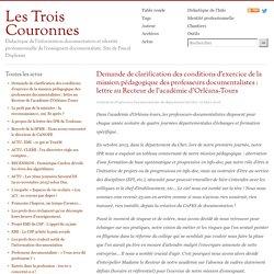 Demande de clarification des conditions d'exercice de la mission pédagogique des professeurs documentalistes : lettre au Recteur de l'académie d'Orléans-Tours