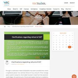 Clarifications regarding refund of GST