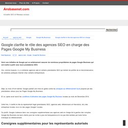 Google clarifie le rôle des agences SEO en charge des Pages Google My Business