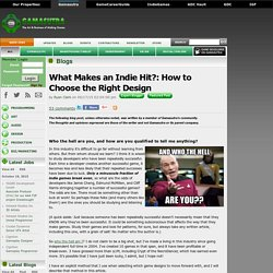 Ryan Clark's Blog - What Makes an Indie Hit?: How to Choose the Right Design