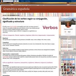 Gramática española: Clasificación de los verbos según su conjugación, significado y estructura