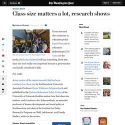 Class size matters a lot, research shows