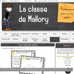 La classe de Mallory - Ressources pour le CM
