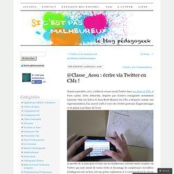 @Classe_Acou : écrire via Twitter en CM1 !