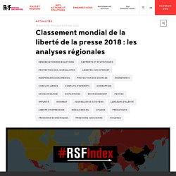 Classement mondial de la liberté de la presse 2018 : les analyses régionales