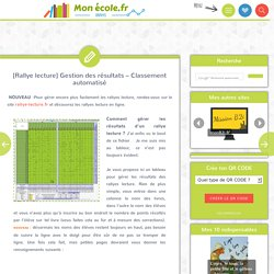 [Rallye lecture] Gestion des résultats – Classement automatisé