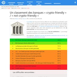 Un classement des banques « crypto-friendly » / « not crypto-friendly »