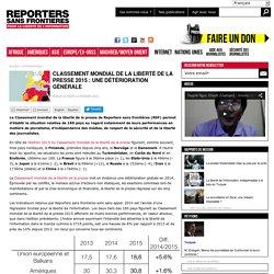 Classement mondial de la liberté de la presse 2015 : une détérioration générale