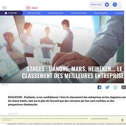 Stages : Danone, Mars, Heineken... le classement des meilleures entreprises - LCI