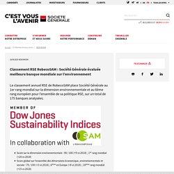Classement RSE RobecoSAM : Société Générale évaluée meilleure banque mondiale sur l'environnement