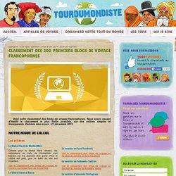 Classement des 200 premiers blogs de voyage francophones