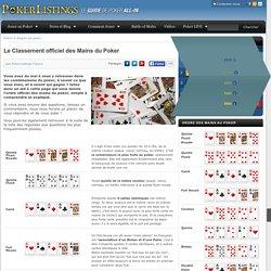 Le Classement des Mains du Poker - Ordre officiel des mains