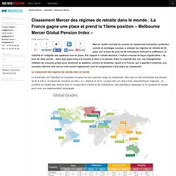 Classement Mercer des régimes de retraite dans le monde : La France gagne une place et prend la 13ème position – Melbourne Mercer Global Pension Index –