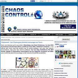 Classement : Les 10 plus gros (récents) mensonges sur l'euro... - Stratégie du chaos controlé