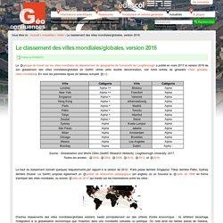 Le classement des villes mondiales/globales, version 2016