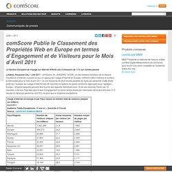 Publie le Classement des Propriétés Web en Europe en termes d'Engagement et de Visiteurs pour le Mois d'Avril 2011