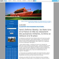 CLASSEMENT DES PUISSANCES MILITAIRES. : La Chine aujourd'hui