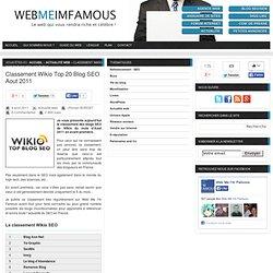 Classement Wikio Top 20 Blog SEO Aout 2011