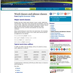 Word classes and phrase classes - English Grammar Today