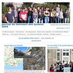Les classes se présentent - Journal du Goncourt des lycéens 2019