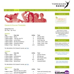 Classes & Courses Timetable — Yorkshire Dance