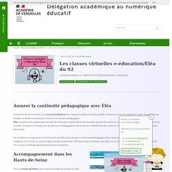 Les classes virtuelles e-éducation/Éléa du 92