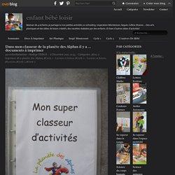 Dans mon classeur de la planète des Alphas il y a ... documents à imprimer - enfant bébé loisir