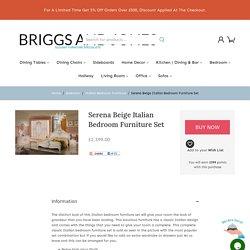 Serena Beige And Gold Classic Italian Bedroom Furniture Set