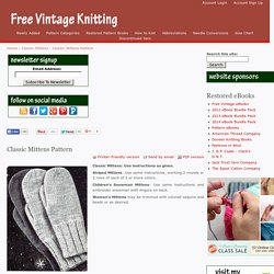 Classic Mittens | Free Vintage Knitting Patterns