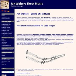 Jan Wolters - Free sheet music - Jazz, Pop, Classical Music, Folk Music, Christmas Music, Spiritual Music