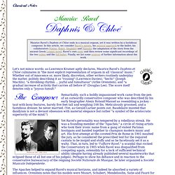 Classical Notes - Classical Classics - Ravel's Daphnis et Chloe, by Peter Gutmann