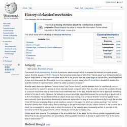 History of classical mechanics