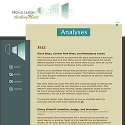 Musical Analysis - detailed musical analysis of jazz and modern classical masterpieces.
