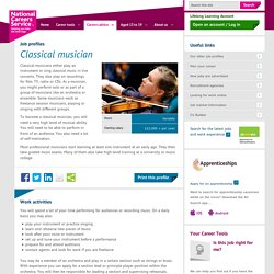 Classical musician job information