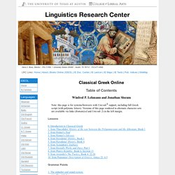 Classical Greek Online: Table of Contents